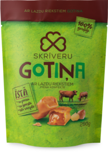 "Milk candies ""Skrīveru Gotiņa"" with hazelnuts"