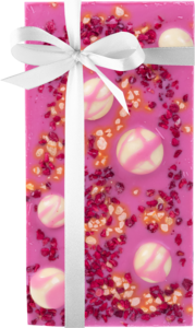 Pink chocolate with cherries, cranberries and nuts