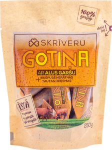 "Milk candies ""Skrīveru Gotiņa"" with beer flavour and naughty folk songs"